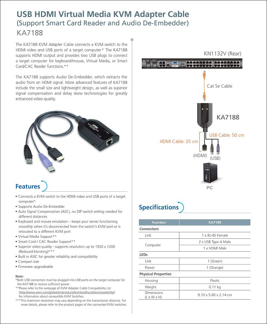 ATEN KA7188 USB HDMI Virtual Media KVM Adapter Cable - Overview 1