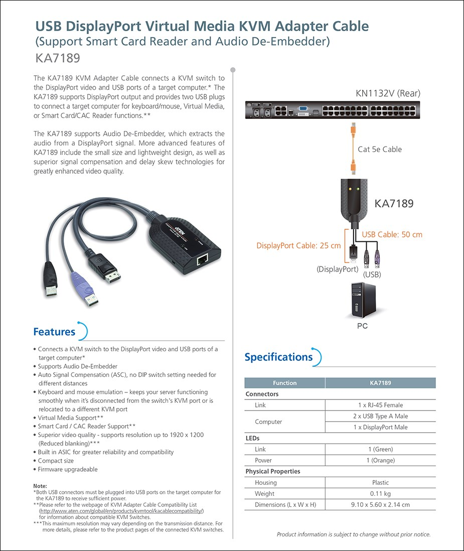 ATEN KA7189 USB DisplayPort Virtual Media KVM Adapter Cable - Overview 1