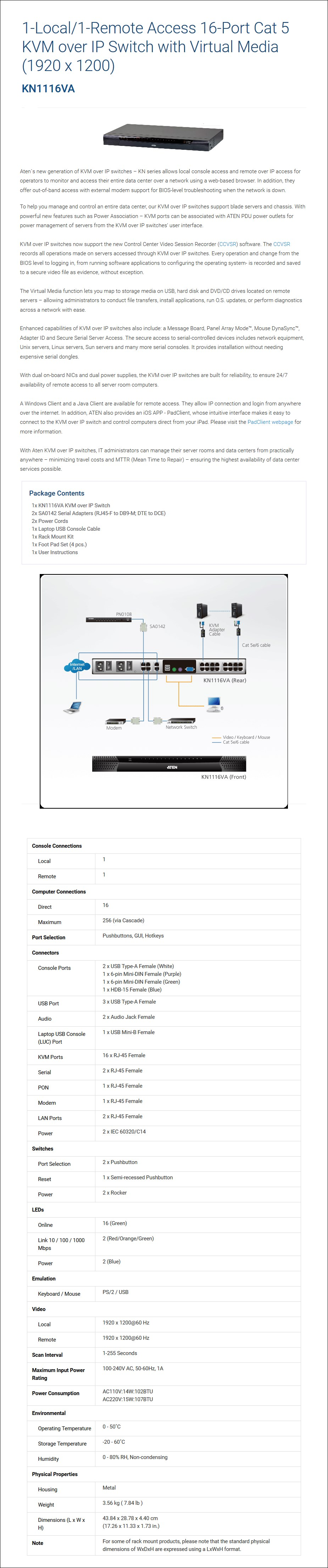 ATEN KN1116VA 1-Local/1-Remote Access 16-Port Cat 5 KVM over IP Switch with VM - Overview 1