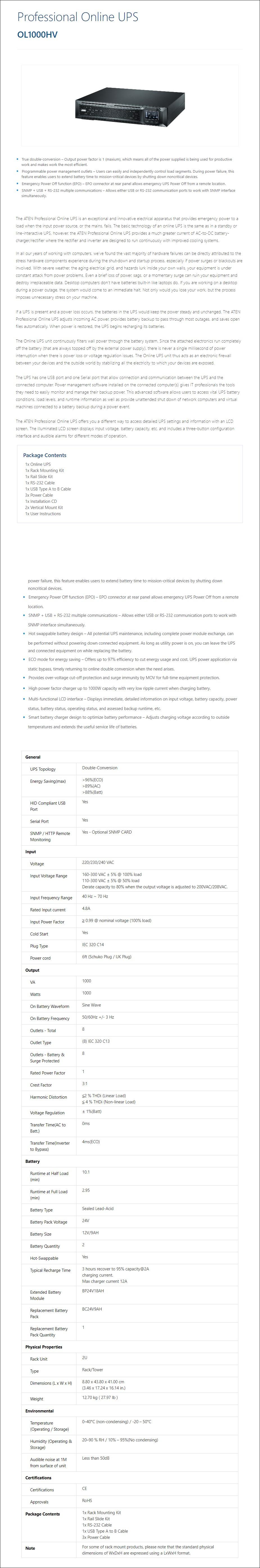 ATEN OL1000HV 1000VA / 1000W Professional Online UPS - Overview 2