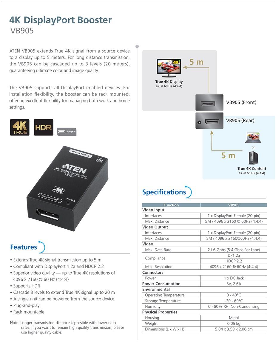 ATEN VB905 4K DisplayPort Booster - 4K @ 10m - Overview 1