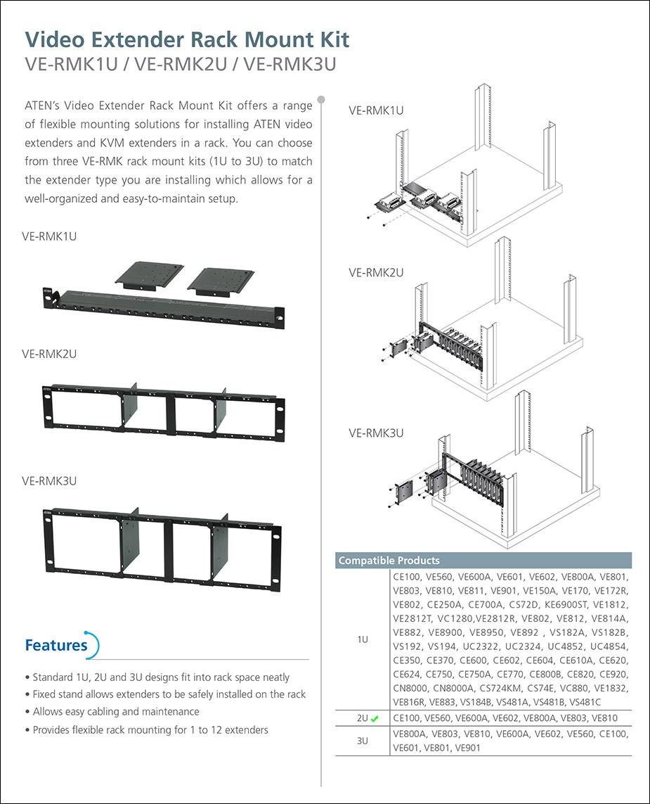 ATEN VE-RMK2U Video Extender Rack Mount Kit - Overview 1