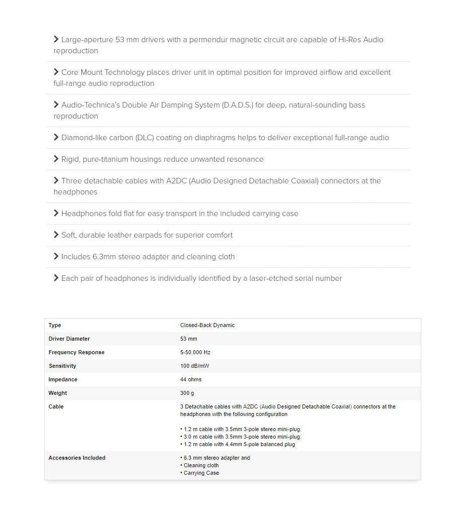 Audio-Technica AP2000Ti Hi-Res Closed-Back Headphones - Overview 1
