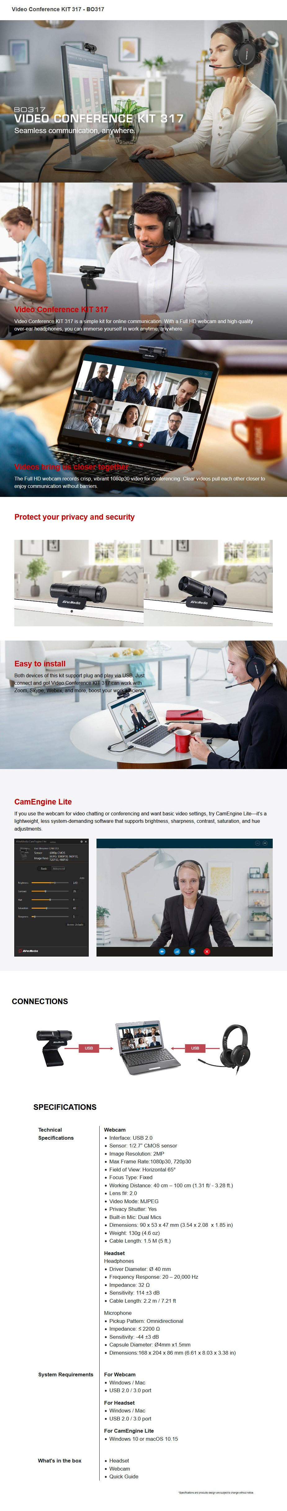 Avermedia BO317 Video Conferencing Kit - Full HD Webcam & Over-Ear Headphones - Overview 1