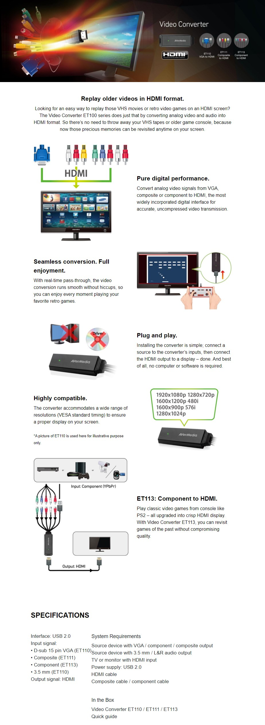 AVerMedia ET113 Component to HDMI Full HD Cable Adapter - Overview 1