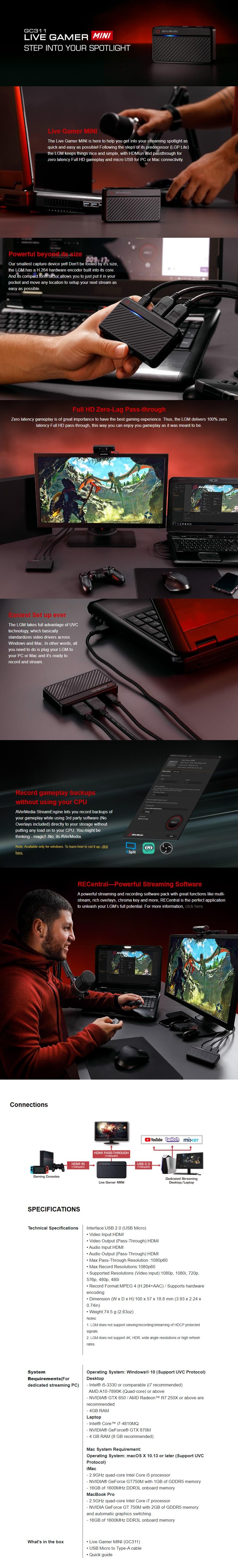 AVerMedia GC311 Live Gamer MINI Full HD Game Capture Card - Overview 1