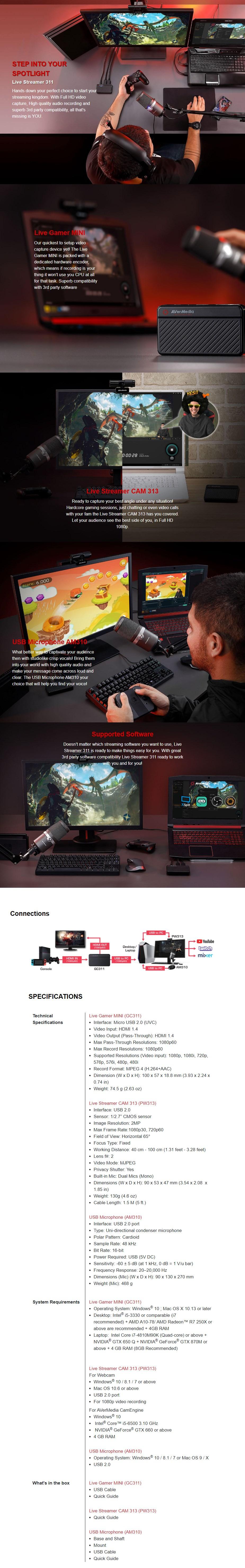 AVerMedia Live Streamer 311 Kit - Live Gamer MINI, CAM313  and USB Mic AM310 - Overview 1