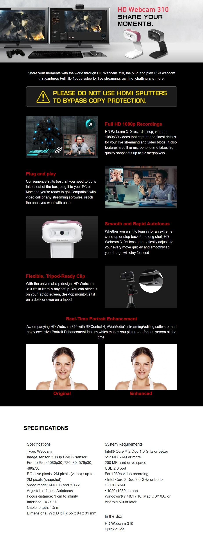 AVerMedia Live Streamer CAM 310 Full HD Webcam - Overview 1