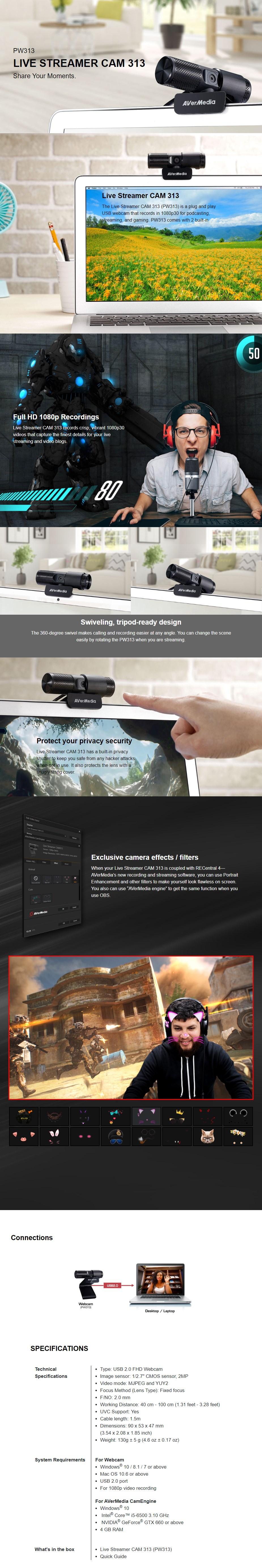 AVerMedia Live Streamer CAM 313 Full HD Webcam - Overview 1