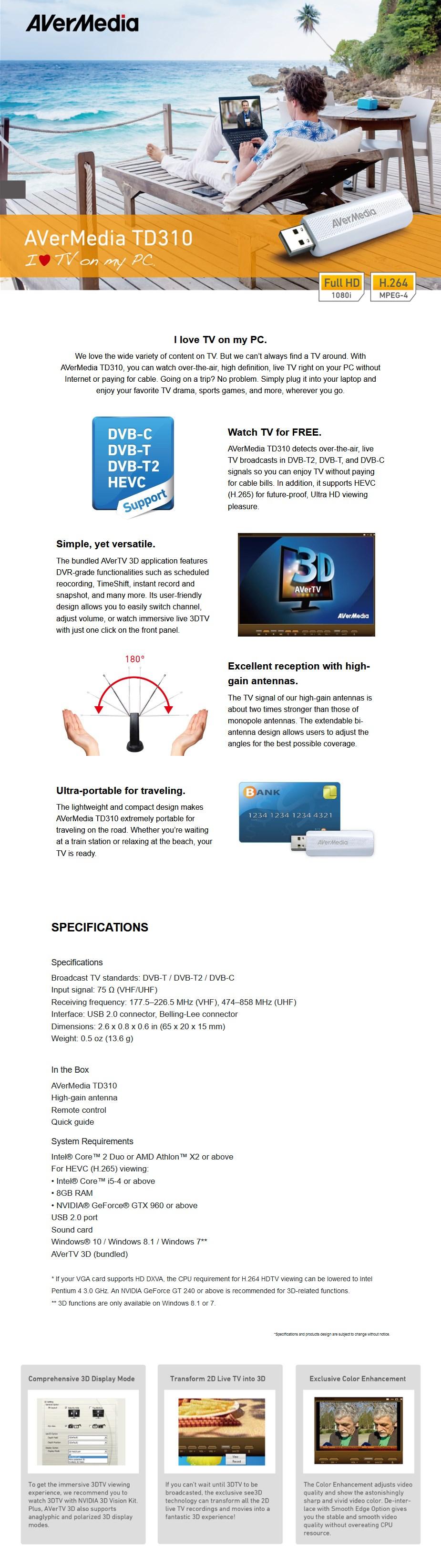 AVerMedia TD310 Pure Digital DVB T2 TV Tuner - Overview 1