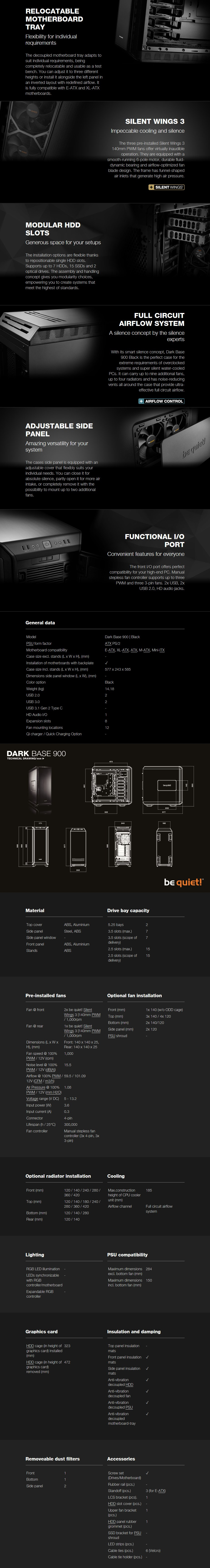 be quiet! Dark Base 900 Mid-Tower E-ATX Case - Black - Overview 1