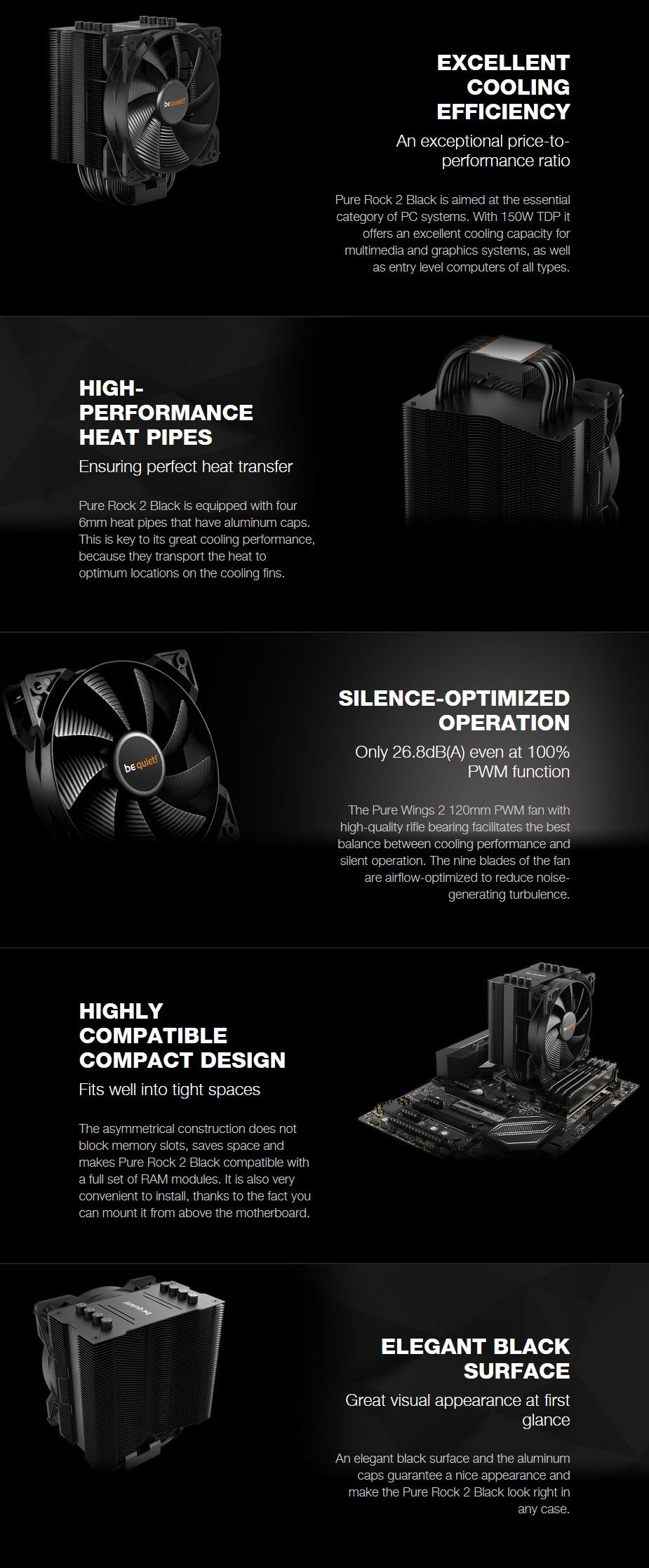 be quiet! Pure Rock 2 CPU Air Cooler - Black - Overview 1