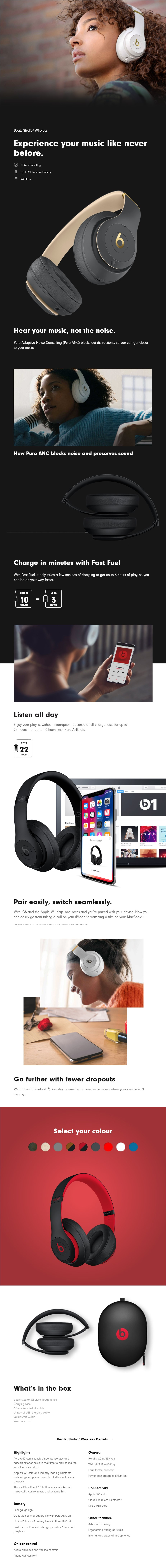 Beats Studio3 Wireless Over-Ear Headphones - Overview 1