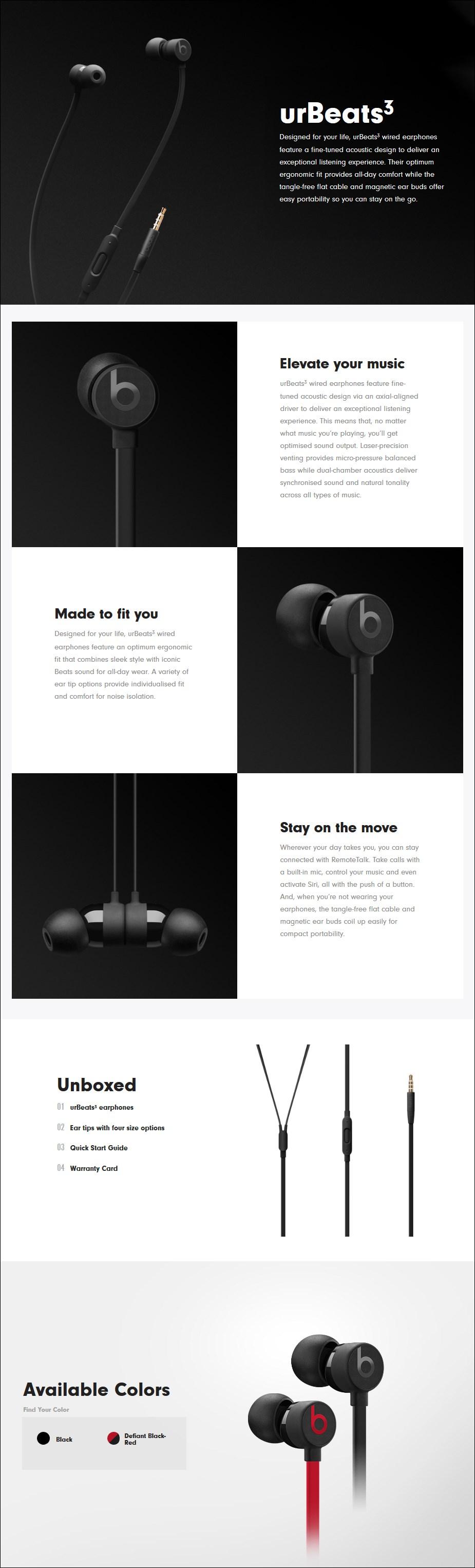 Beats urBeats3 Earphones with 3.5mm Plug - Black - Overview 1