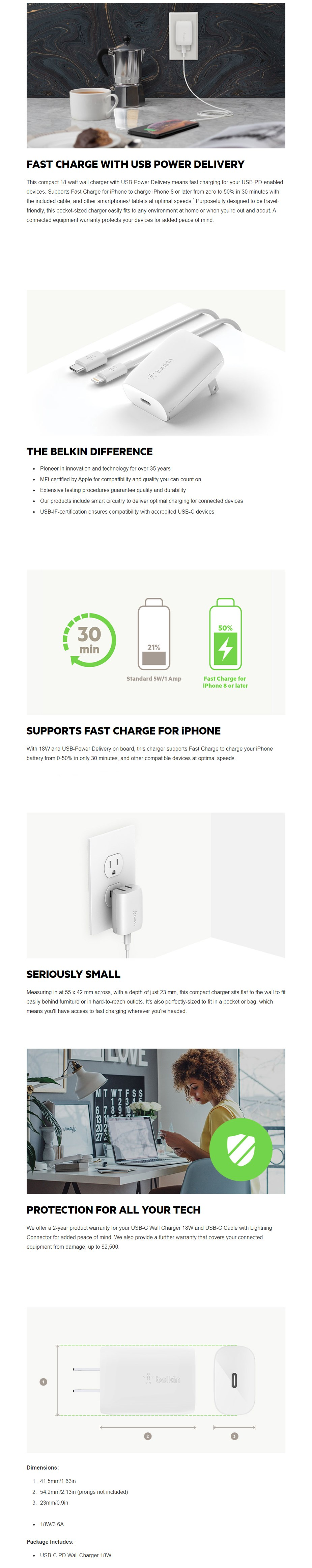 Belkin Boost Charge 18W USB-C Home Charger - Overview 1
