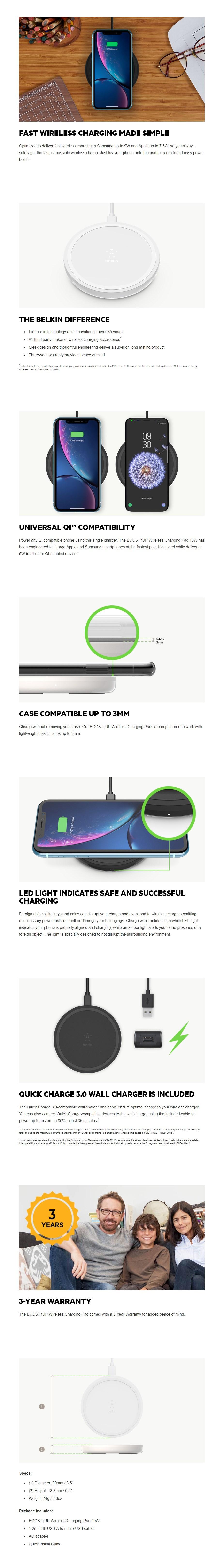Belkin Boost Up 10W Wireless Charging Pad - Black - Overview 1