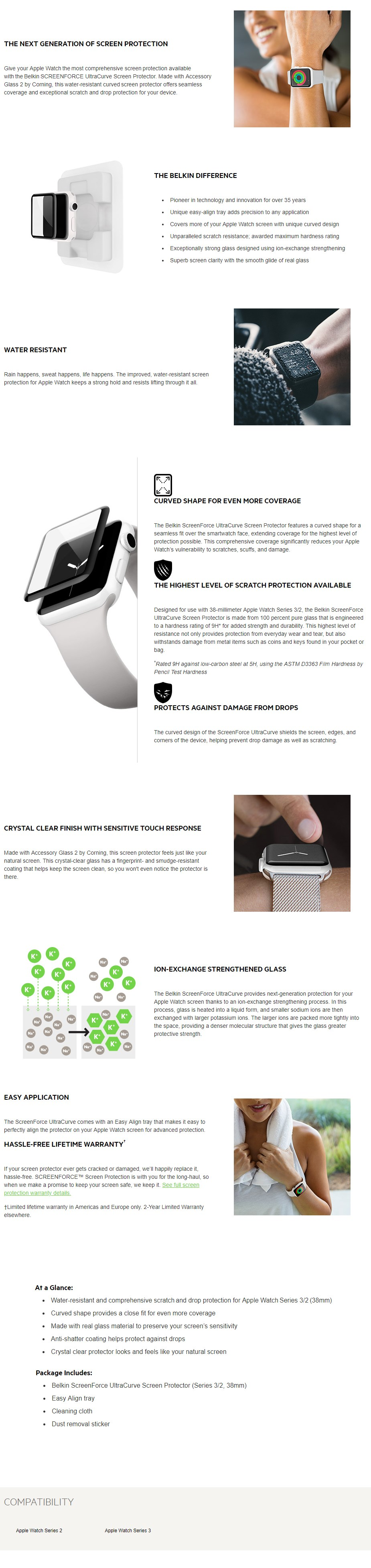 Belkin Screenforce UltraCurve Screen Protection for Apple Watch Series 2/3 - 38m - Overview 1