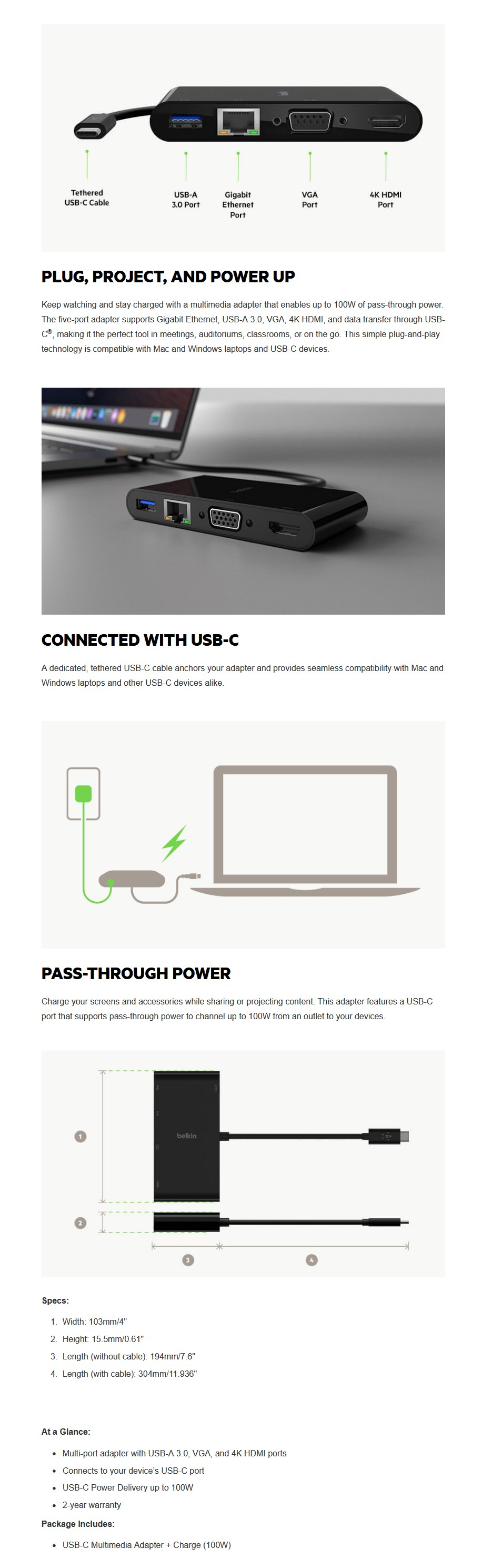 Belkin USB-C Multimedia + Charge Adapter (100W) - Overview 1