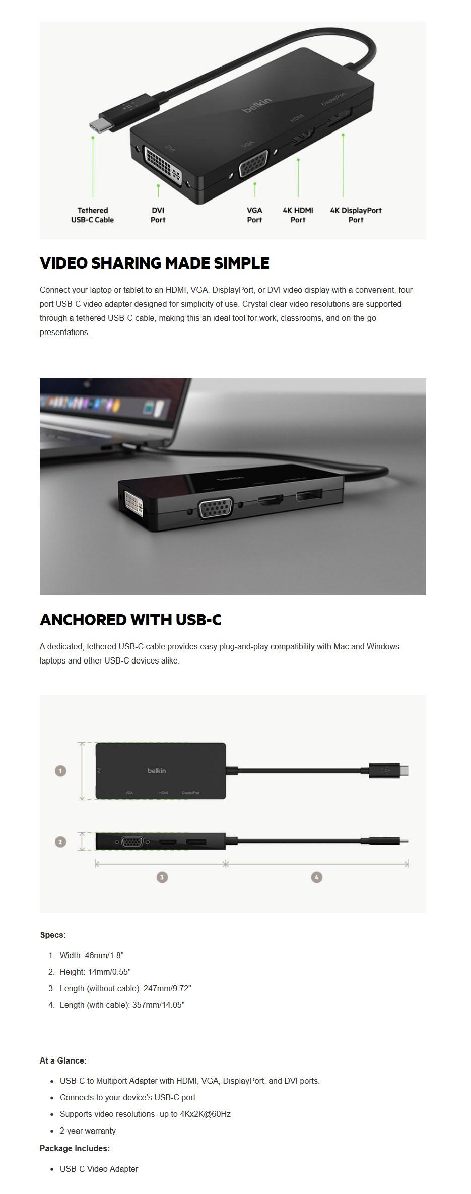 Belkin USB-C Multi-Port Video Adapter - Overview 1