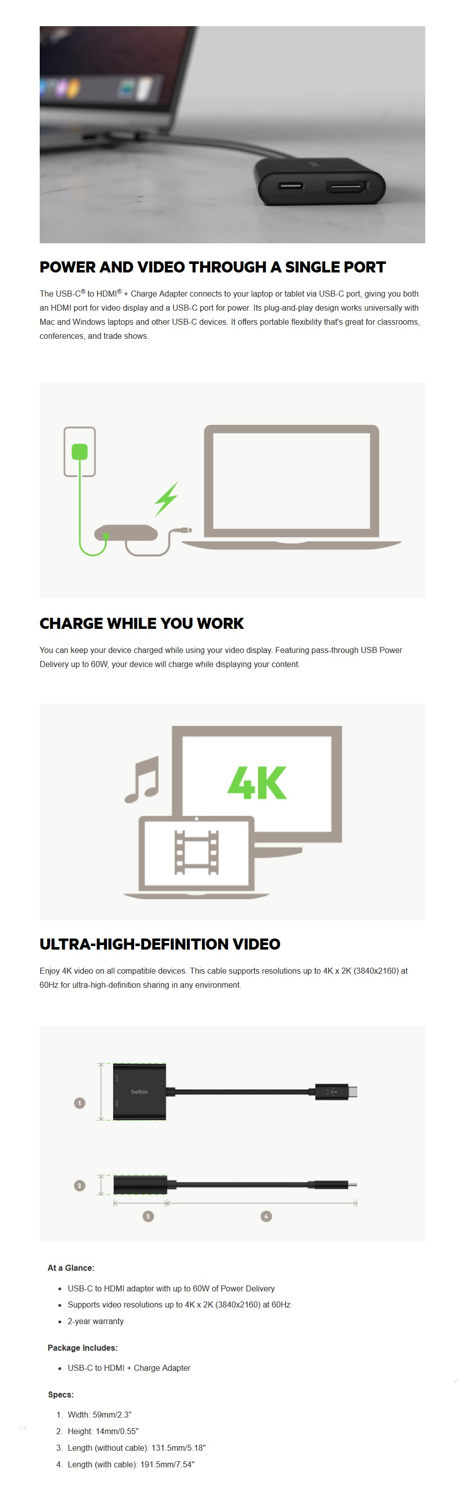 Belkin USB-C to HDMI + Charge Adapter - Overview 1