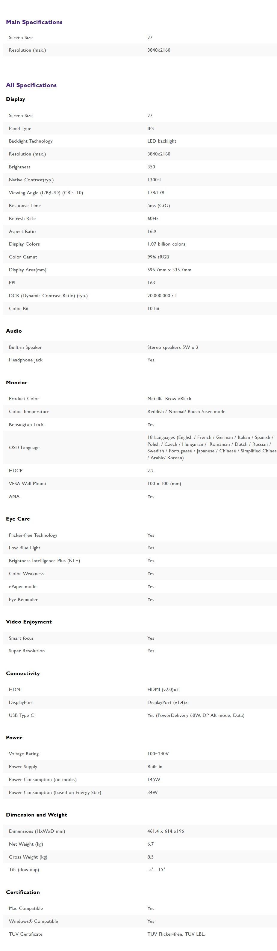"BenQ EW2780U 27"" 4K UHD 99% sRGB HDR USB-C Eye-Care IPS Monitor - Overview 2"