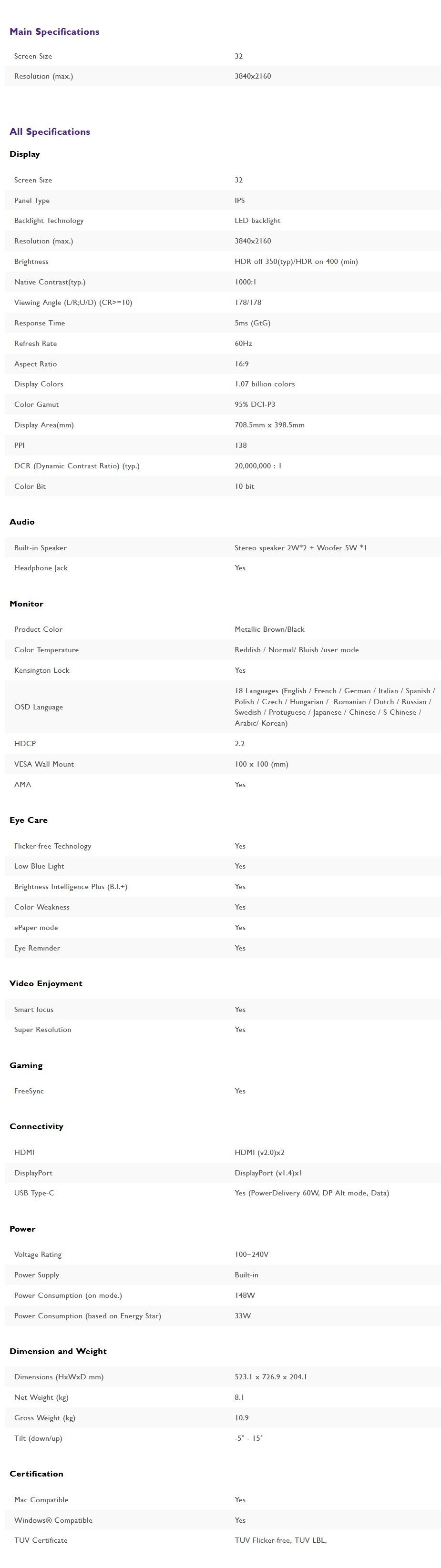"BenQ EW3280U 32"" 4K UHD 95% DCI-P3 HDR USB-C FreeSync Eye-Care IPS Monitor - Overview 2"