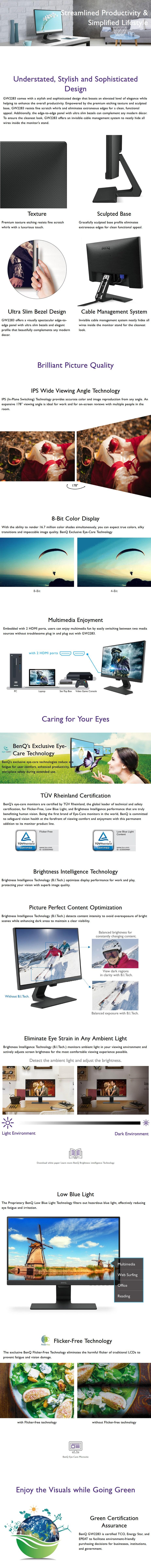 "BenQ GW2283 21.5"" Full HD Eye-Care IPS Monitor - Overview 1"
