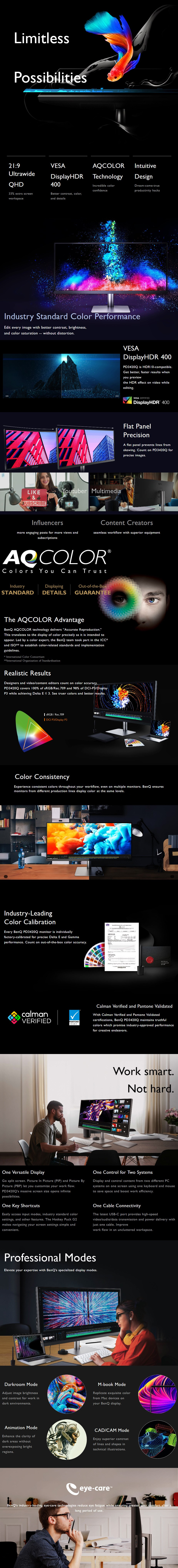 """BenQ PD3420Q 34"""" Ultra-Wide QHD HDR10 Calibrated IPS Designer Monitor - Overview 1"""