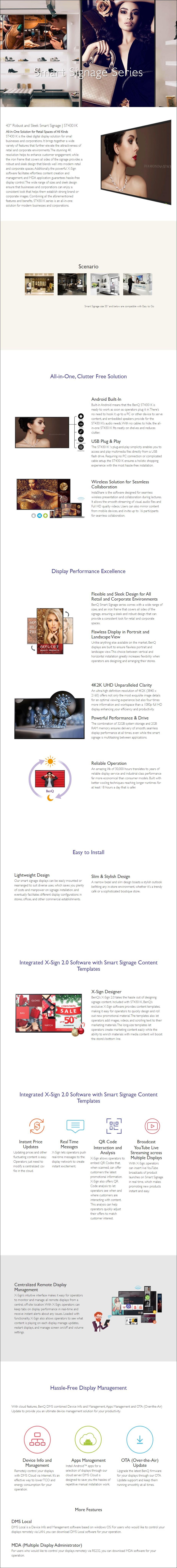"""BenQ ST4301K 43"""" 4K UHD Smart Digital Signage - Overview 1"""