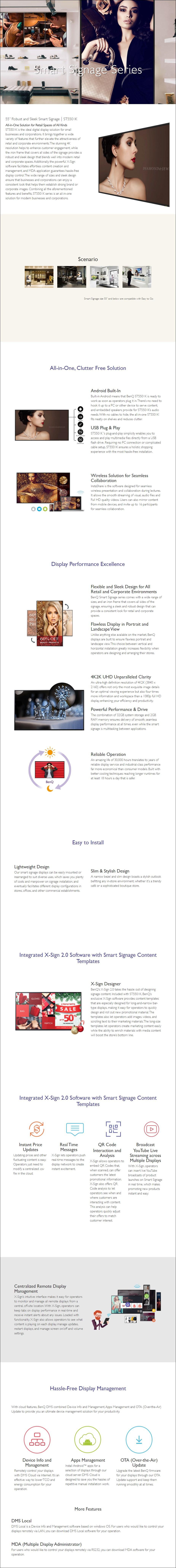 """BenQ ST5501K 55"""" 4K UHD Smart Digital Signage - Overview 1"""