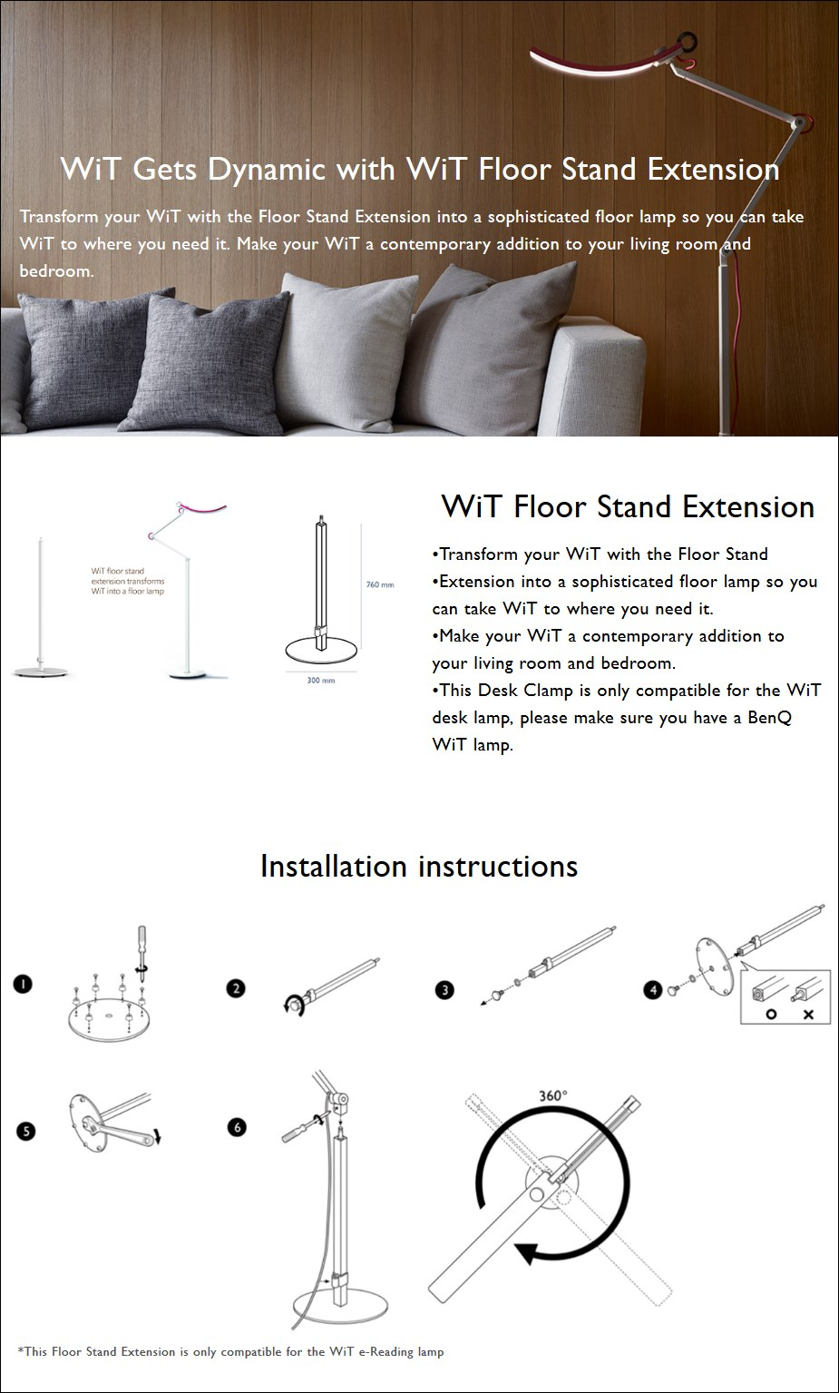 BenQ WiT Floor Stand Extension - Overview 1