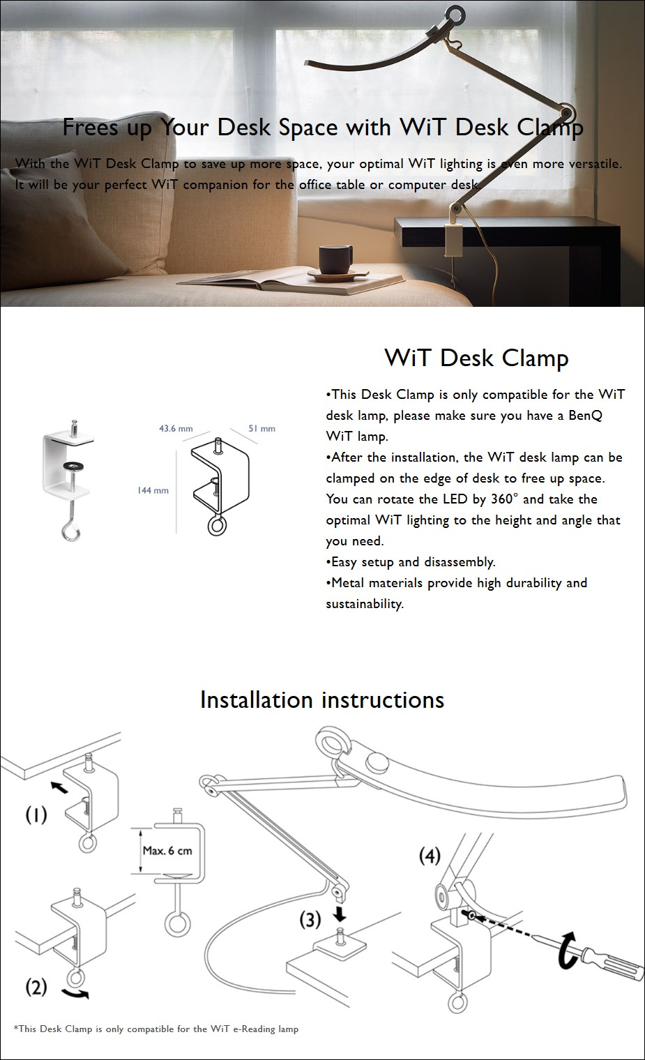BenQ WiT Lamp Desk Clamp - Overview 1