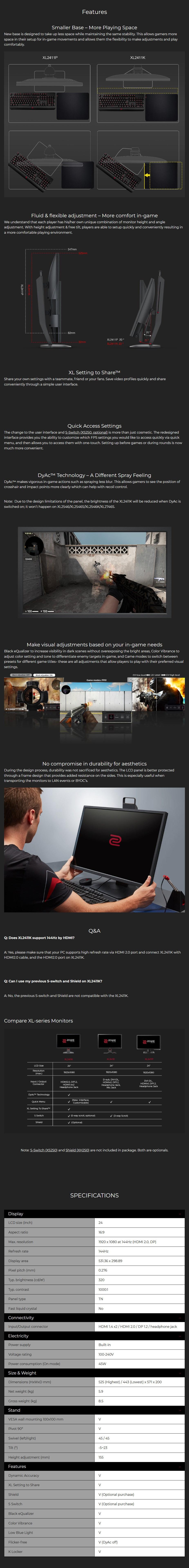 "BenQ ZOWIE XL2411K 24"" 144Hz Full HD DyAc TN Gaming Monitor - Overview 1"