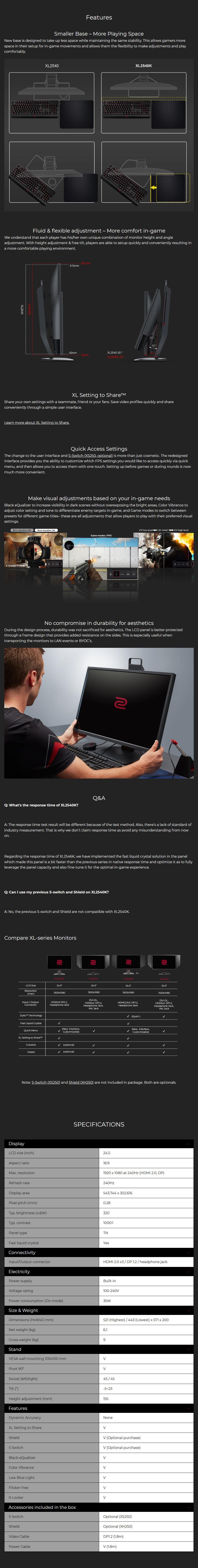 """BenQ ZOWIE XL2540K 24.5"""" 240Hz Full HD Gaming Monitor - Desktop Overview 1"""