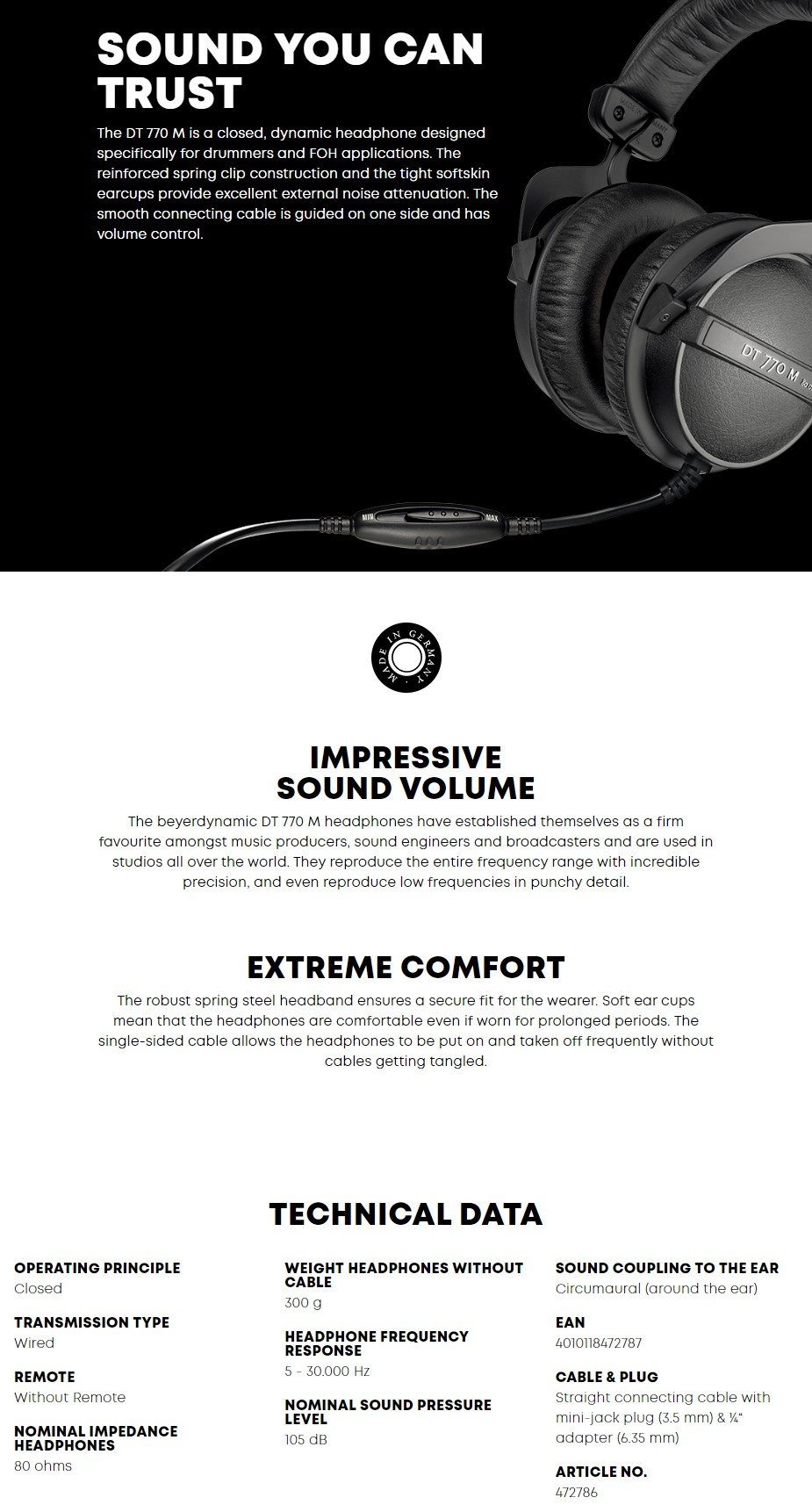 Beyerdynamic DT 770 M 80 Headphones - Desktop Overview 1