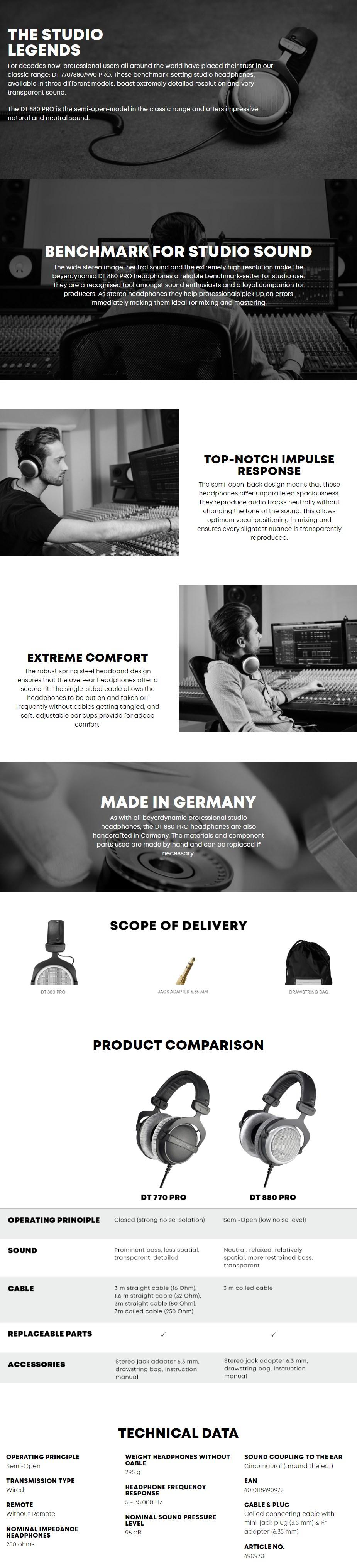 Beyerdynamic DT 880 PRO Dynamic Headphones - Desktop Overview 1