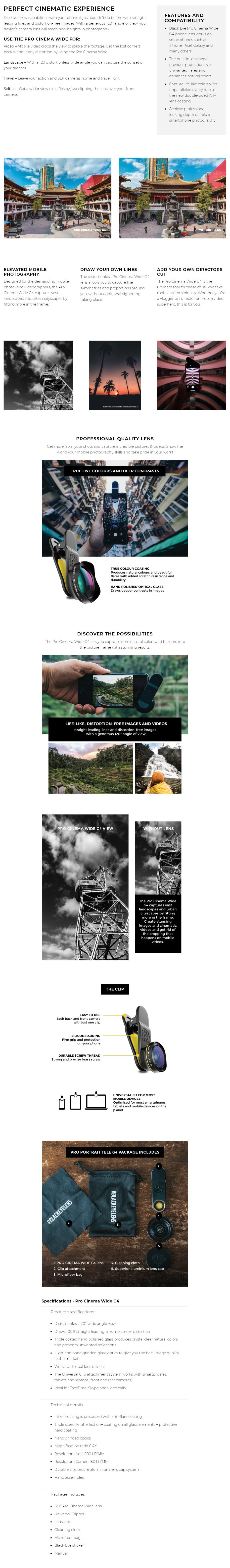 Black Eye PRO Cinema Wide G4 Phone Lens - Overview 1