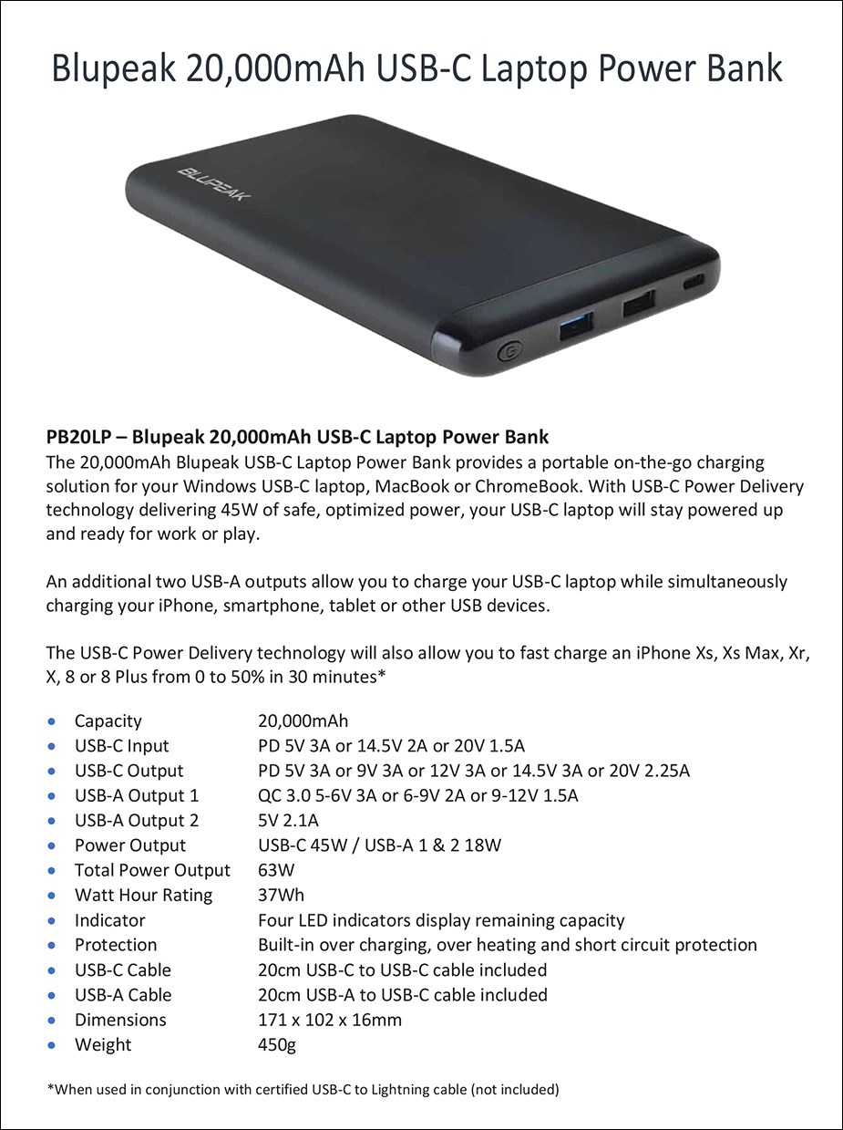 Blupeak 20000mAh Laptop 63W USB-PD & QC 3.0 Power Bank - Overview 1