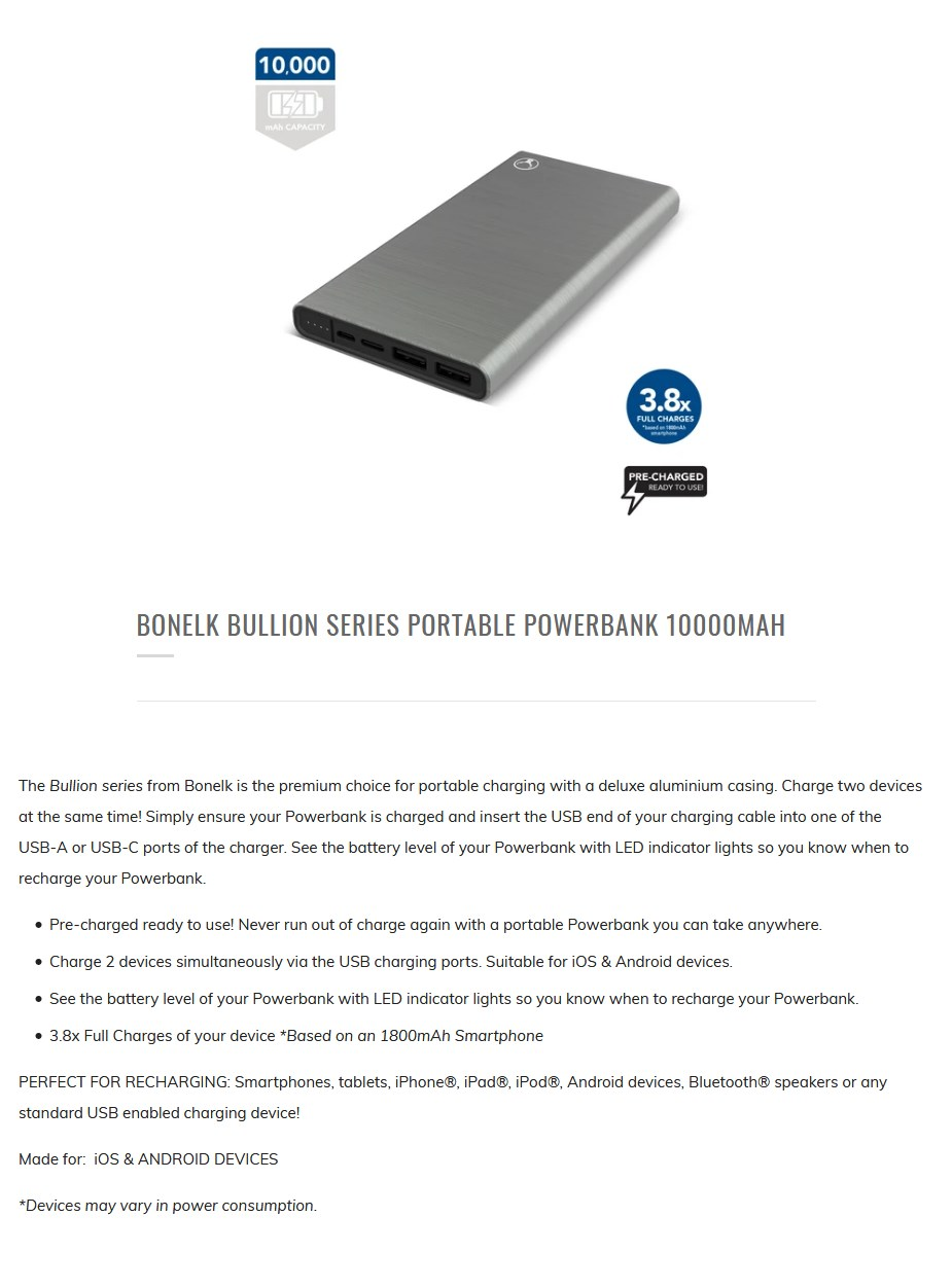 Bonelk 10000mAh Bullion Series Portable USB-A & USB-C Power Bank - Overview 1