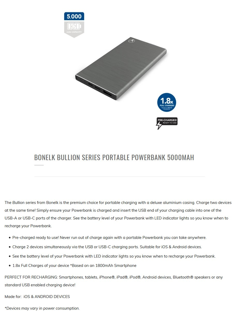 Bonelk 5000mAh Bullion Series Portable USB-A & USB-C Power Bank - Overview 1