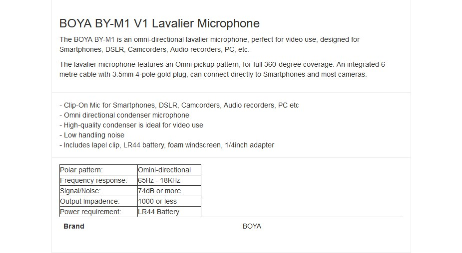 BOYA BY-M1 V1 Omni Directional Lavalier Microphone - Overview 1
