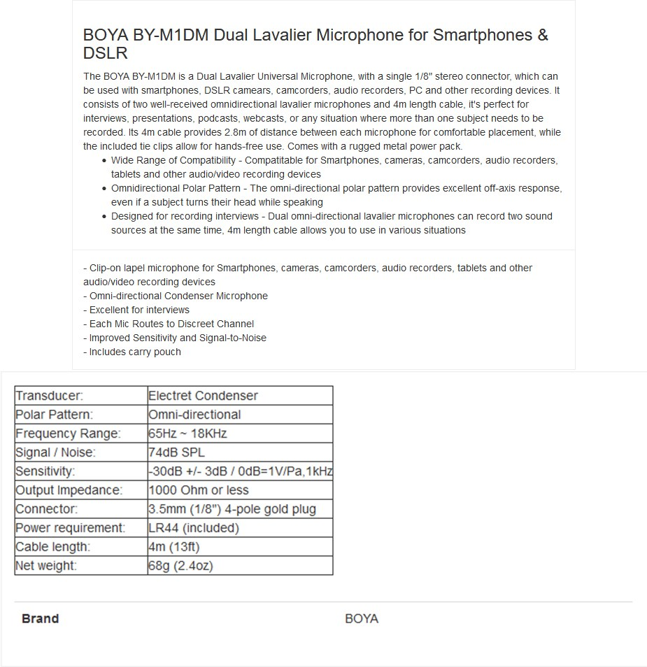 BOYA BY-M1DM Dual Omni-directional Lavalier Microphone - Overview 1