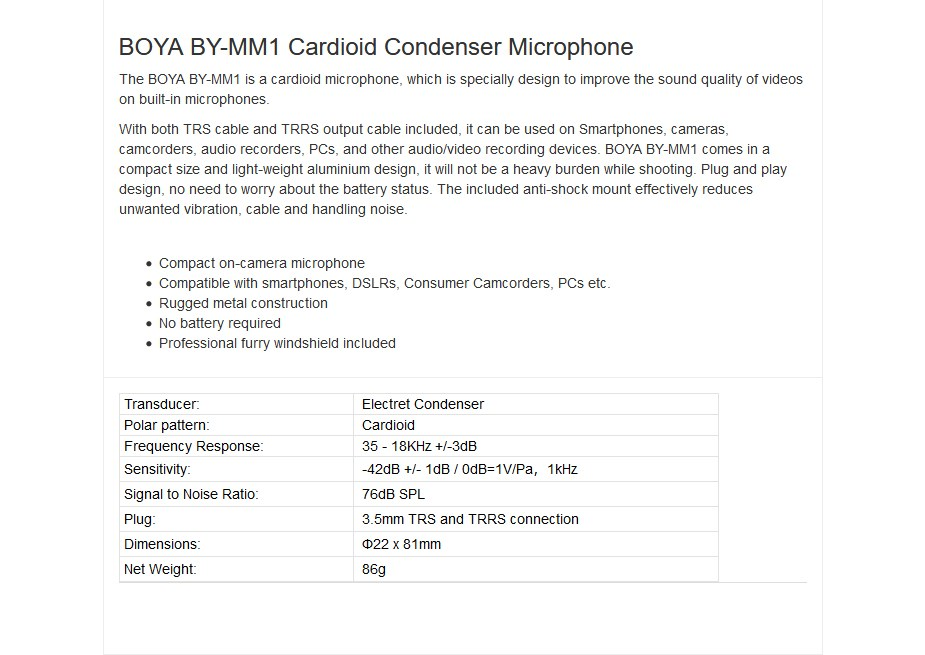 BOYA BY-MM1 Cardioid Condenser Microphone - Overview 1