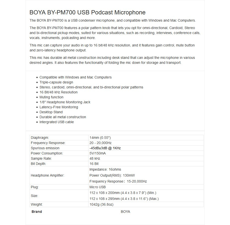 BOYA BY-PM700 USB Condenser Podcast Microphone - Overview 1