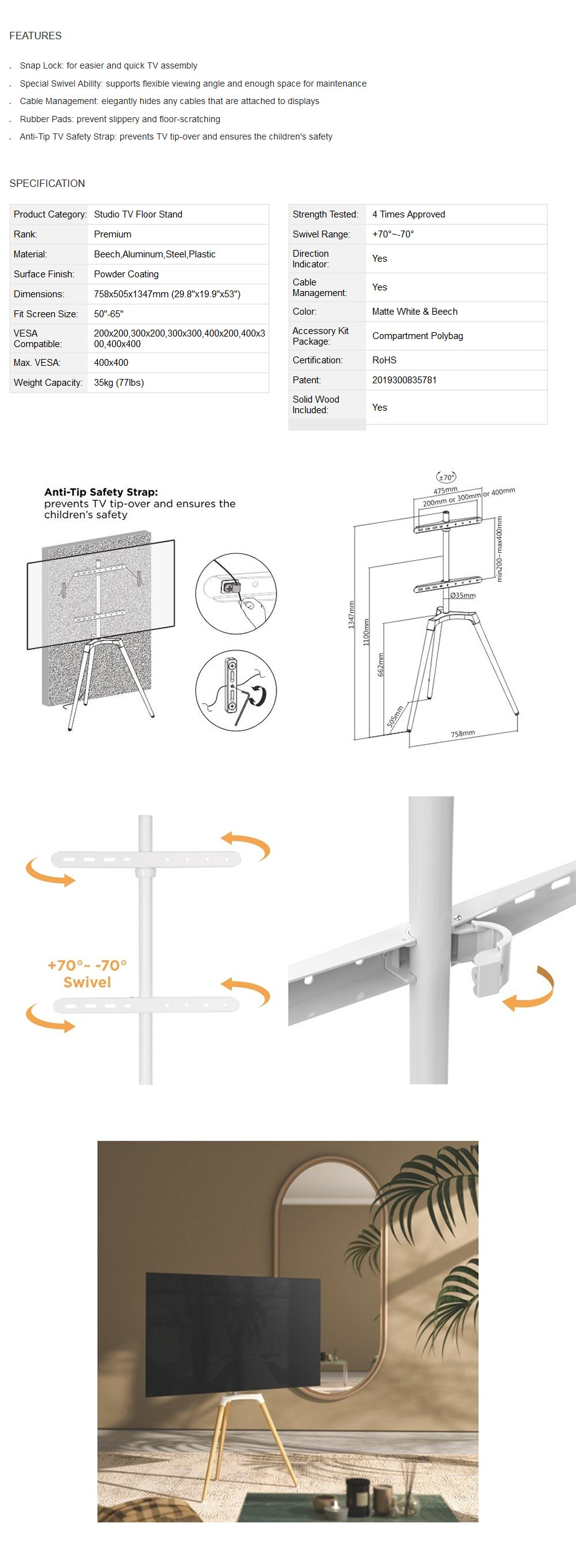 "Brateck Easel Studio TV Floor Tripod Stand 50"" - 65"" - Matte White & Beech - Overview 1"