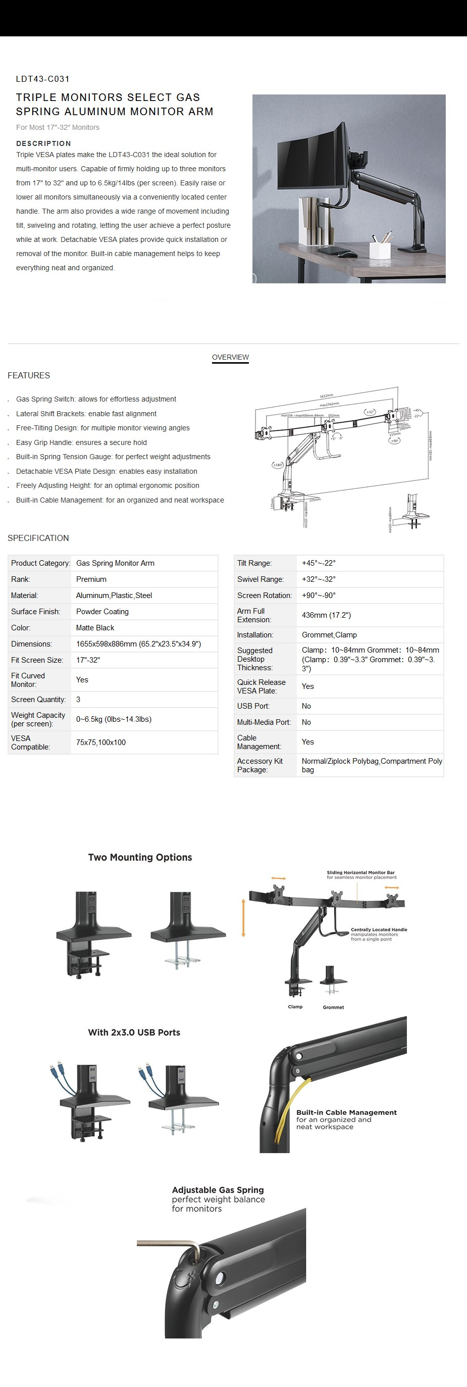 Brateck LDT43-C031 Triple Monitors Select Gas Spring Aluminum Monitor Arm  - Overview 1