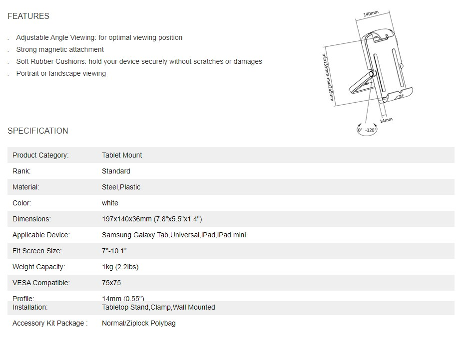 """Brateck Multi-functional Tablet Mount - 7""""-10.1"""" - Overview 1"""