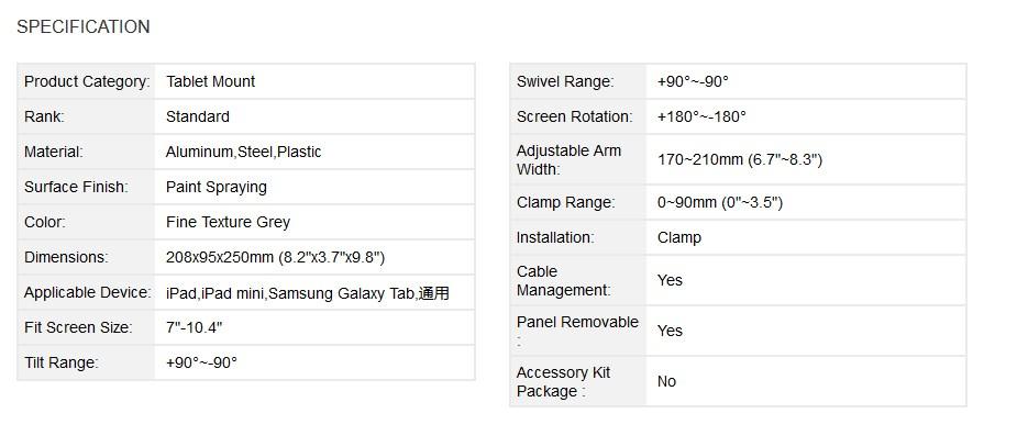 Brateck PAD18-02 Universal Tablet Mount - Grey - Desktop Overview 1