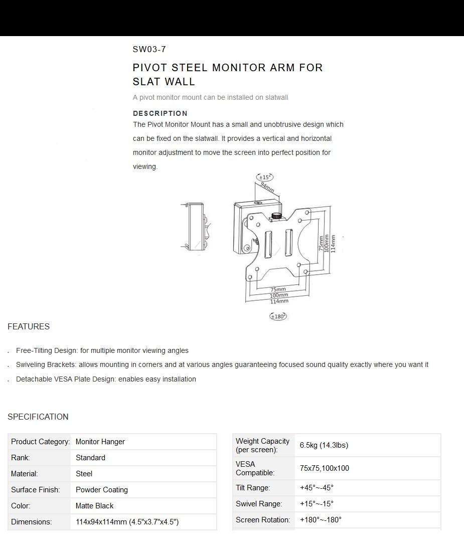 Brateck Slatwall Pivot SW03-7 Monitor Mount For Slat Wall - Overview1