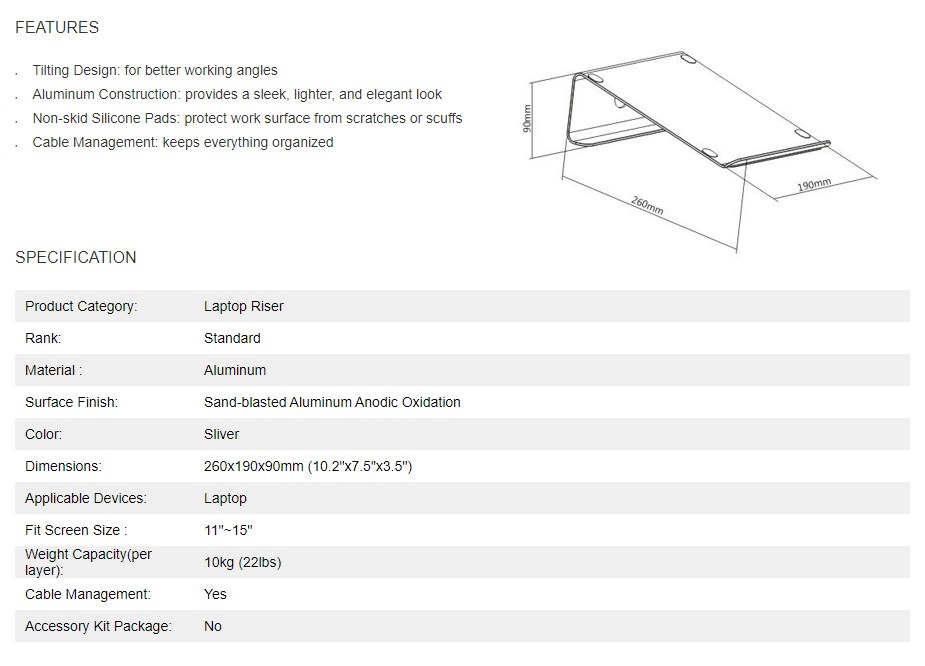 Brateck Tilted Laptop Stand - Silver - Overview 1